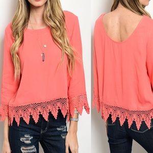 💐 Coral Crochet Top 3/4 Sleeves