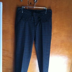 Anthro Plaid Cropped Trousers by Cartonnier Sz 0