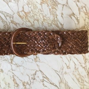Vintage Wide Leather Braided Belt Brown Small
