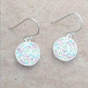 Jewelry - Silver Plated Multi Pastel Crystal Drop Earrings