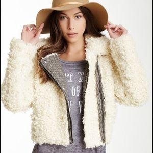 Free People Jackets & Coats - Free People Sherpa Faux Fur Moto Shaggy Jacket