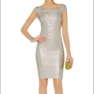 Herve Leger Dresses & Skirts - ✨NWOT Herve Leger Silver Bandage Dress