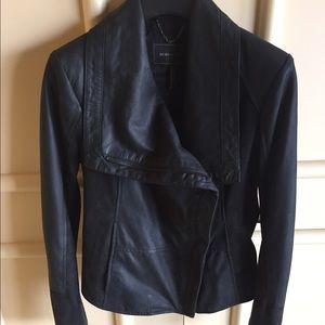 Authentic BCBG Black Leather and Suede Jacket
