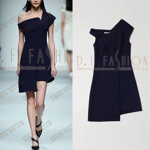 Elegant irregular one-shoulder dress