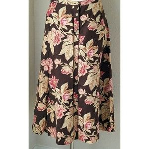 Chaps Dresses & Skirts - Chaps Ralph Lauren Brown Pink Floral Linen Skirt