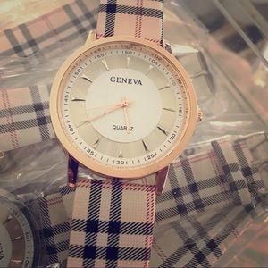 geneva Jewelry - Women's plaid Geneva watch with silver/white face
