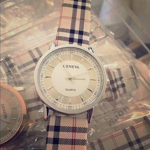 geneva Jewelry - Women's Geneva white faced silver rim plaid watch