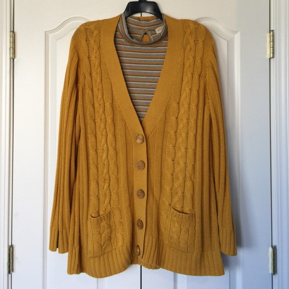 65% off MAK Sweaters - Mustard yellow boyfriend cardigan & mock ...