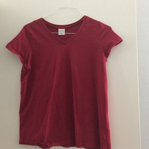 Maternity medium red v neck top shirt