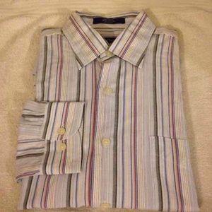Alan Flusser White, Blue & Red Stripe Shirt L
