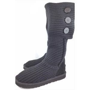 UGG Shoes - UGG Classic Cardy Black Knit Warm Boots | 10