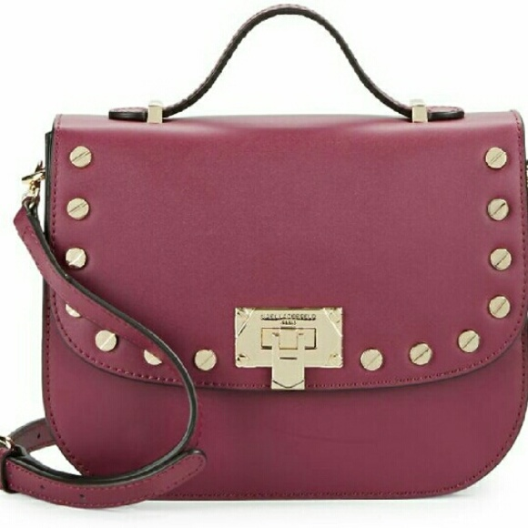 17ae319a1f3f SALE ☆Karl Lagerfeld Stud Leather Saddle Bag NWT
