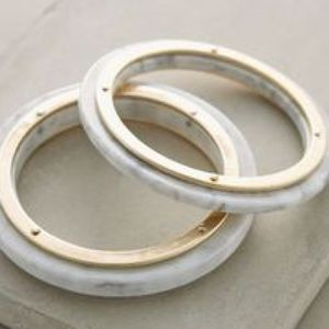 Anthropologie Jewelry - Anthropologie white lucite bangle marble