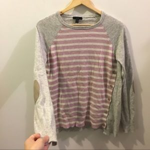 J. Crew Lavender Strip Elbow Patch Sweater small