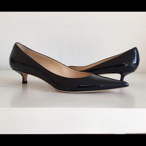 649f4a1ddf Jimmy Choo Shoes - JIMMY CHOO AZA NAVY PAT. LEATHER KITTEN HEEL PUMPS