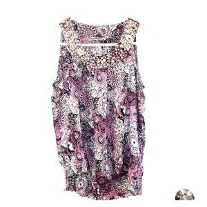 Larry Levine Tops - Floral tank top with pearl collar