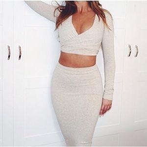 Tea You Beige Bodycon Skirt