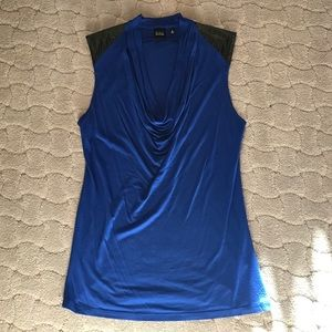 Saks Fifth Avenue Black Label Tops - Blue Sleeveless Top with Faux Leather Shoulders