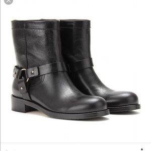 "Jimmy Choo Shoes - Jimmy Choo Black ""Dixie"" Leather Biker Boots"