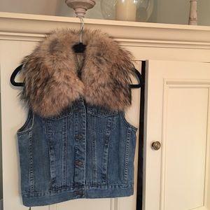 Michael Kors real fur neckline Jean vest