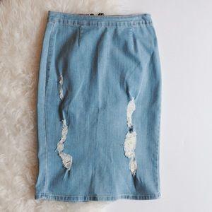Denim Distressed Midi Pencil Skirt
