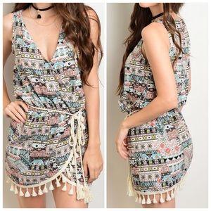 CupofTea Dresses & Skirts - 🎉SALE🎉Multicolored tassel trim wrap dress