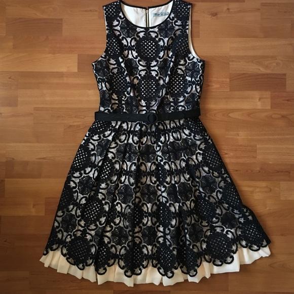 Eliza J Dresses Black Pink Lace Fit Flare Dress W Belt Poshmark