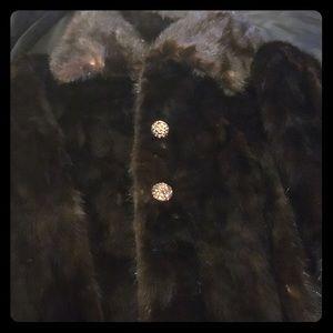 Reclaimed Vintage Jackets & Blazers - Genuine Long Vintage Chocolate Mink Fur Coat