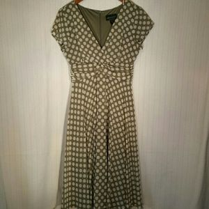 Connected Apparel  Dresses & Skirts - Olive Polka Dot Dress