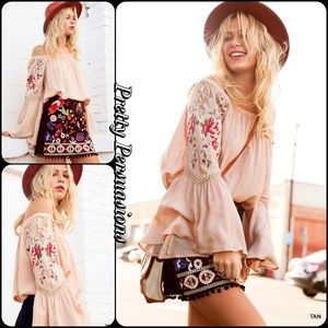 Pretty Persuasions Tops - Taupe Off Shoulder Floral & Lace Bell Sleeve Top
