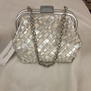 Calvin Klein Woven Silver Shimmer Leather Handbag
