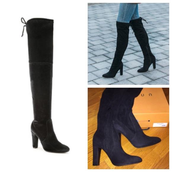 944b3b3cd2f NIB Black Velvet Saranaa Over The Knee Boots