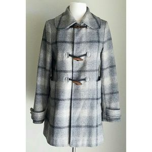 ❤HP❤BananaRepublic GrayPlaid Ombre Toggle WoolCoat