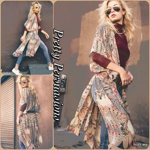 Vintage Print Long Layering Kimono Cardigan