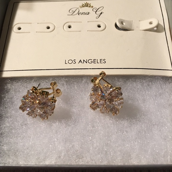 dena g jewelry gorgeous gold and white crystal earrings
