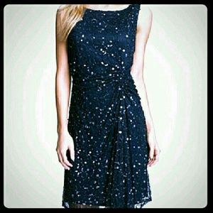 Pisarro Nights Dresses & Skirts - Sequins & Beads Navy Blue Sheath Dress