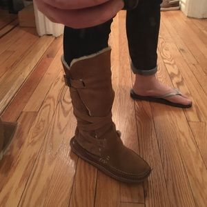 J.Crew Shearling Moccasin Suede Wrap Tie Boots