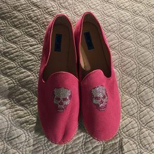 Penny Sue Shoes - Very cute pink suede skull platform espadrilles