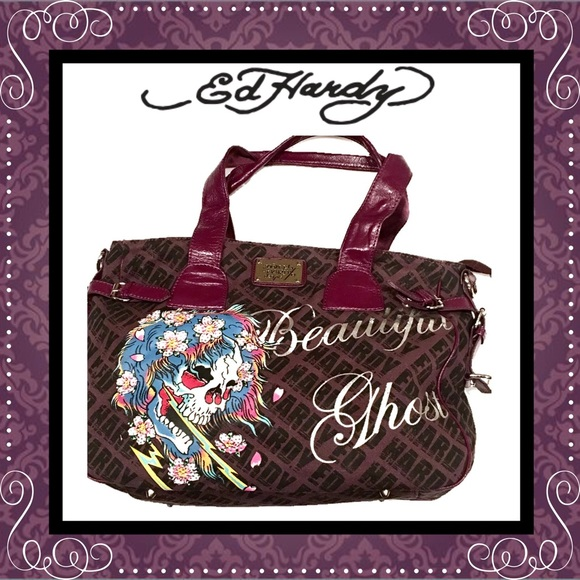 76c341870dab Ed Hardy Handbags - ED HARDY Extra Large Tote 👜 Bag ~ Eggplant