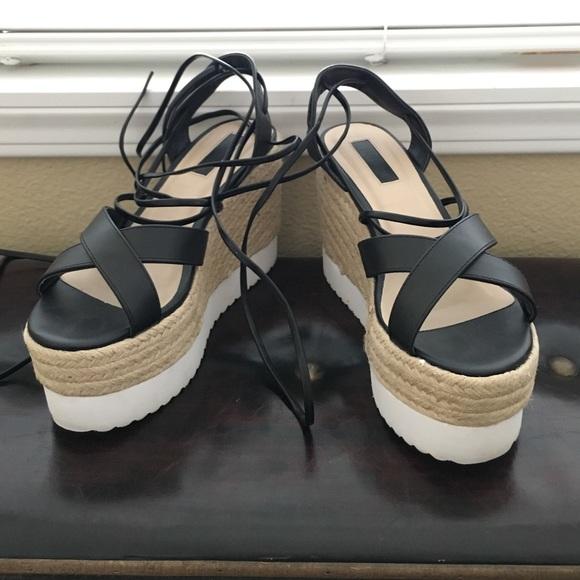 Forever 21 Shoes - Forever 21 tie-up platform sandals b3b6f90861