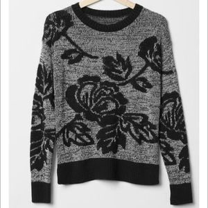 NWOT Knit Gap Sweater with rose pattern!