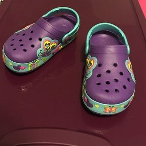 CROCS Other - Girls light up butterfly crocs purple size 12
