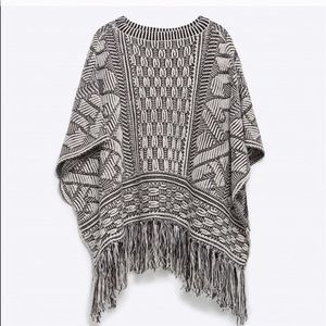 Beautiful Zara Open Side Embroidered Fringe Poncho