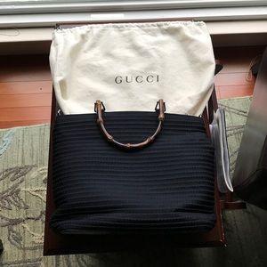 Gucci Handbags - Gucci Navy Bamboo Handle Bag