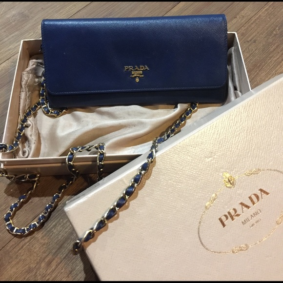 authentic Prada Navy blue clutch