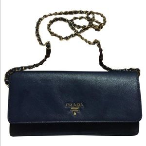 Prada Handbags - Navy blue clutch