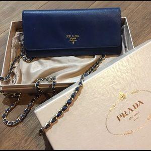 Prada Handbags - 💯 authentic Prada Navy blue clutch
