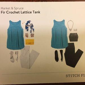 Market & Spruce Tops - Market & Spruce lattice crochet tank