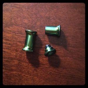 Titanium Green Eyelet Tunnel Earrings 4g