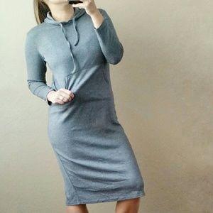 shop_terracotta  Dresses & Skirts - Soft Gray Midi Hoodie Dress